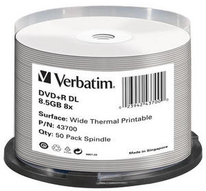43700 DVD+R DL 8.5GB 8x Wide Thermal Printable - No ID