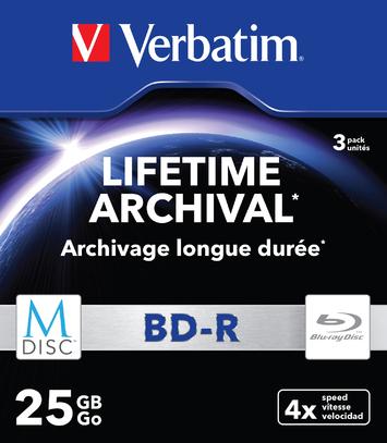 Verbatim MDISC Lifetime Archival BD-R - 3 Pack Slim Case | MDISC