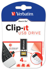 Memoria USB Clip-it de 4 GB en color negro