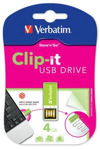 Memoria USB Clip-it de 4 GB en color verde