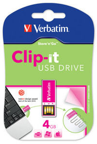 Memoria USB Clip-it de 4 GB en color rosa