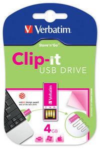 Jednotka Clip-it USB 4 GB, růžová