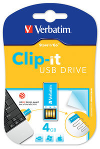 Clip-it USB Drive 4GB Blue
