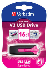 V3 USB-drev 16 GB - Hot pink