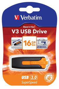 V3 USB-drev 16 GB - Vulkanorange