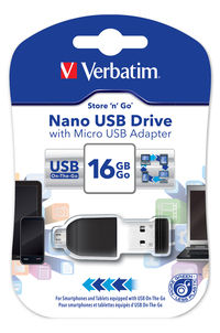 16GB NANO USB-drev med Micro USB-adapter