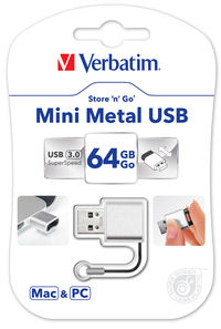 Mini-USB-drev i metal 64 GB