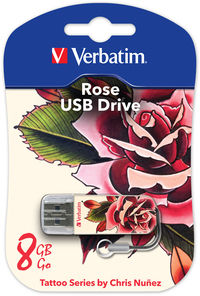 Memoria USB Mini de 8 GB Tattoo Edition: Rosa