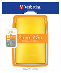 Disco Duro Portátil Store 'n' Go USB 2.0 de 500 GB en color Amarillo (Sunkissed yellow)