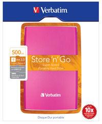 Store 'n' Go USB 3.0 bærbar harddisk 500GB hot pink