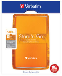 Store 'n' Go USB 3.0 Portable Hard Drive 500B Volcanic Orange