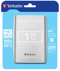 Disque dur portable USB Store 'n' Go 3.0, 1�To, Argent�