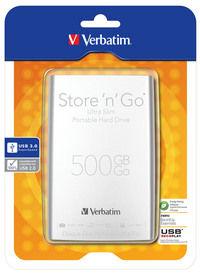 Переносной жесткий диск Store 'n' Go Ultra Slim с интерфейсом USB 3.0 (серебристый), 500ГБ