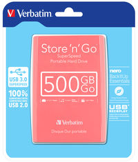 Store 'n' Go USB 3.0 Portable Hard Drive 500GB Sunglo Pink