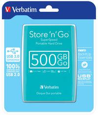 Tirkizno zeleni prijenosni tvrdi disk Store 'n' Go USB 3.0 od 500 GB