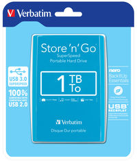 Store 'n' Go USB 3.0 Portable Hard Drive 1TB Java Blue