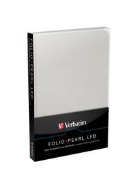 Funda Folio con luz LED para Kindle: Blanco Perla