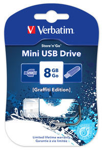 Jednotka USB Mini Graffiti Edition, 8 GB – modrá