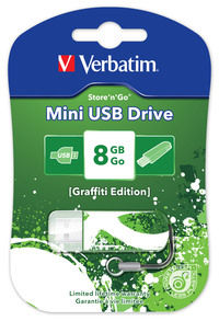 Jednotka USB Mini Graffiti Edition, 8 GB – zelená