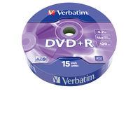 DVD+R mat s�lv, pakke med 15 stk. wrap-spindel