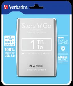 Store 'n' Go USB 3.0 Portable Hard Drive 1TB Silver