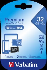 Micro SDHC 32GB* – Class 10