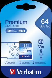 Tarjetas de memoria Verbatim Premium U1 SDHC de 64 GB*