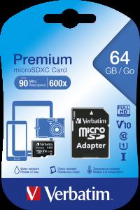 Verbatim Premium U1 MicroSDXC Card 64GB* + adapter