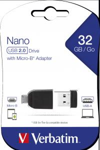 32GB* NANO USB Drive con Adattatore Micro USB