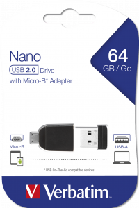 64GB* NANO USB Drive with Micro USB (OTG) Adapter