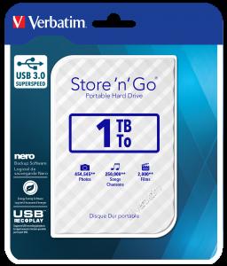 Verbatim Store 'n' Go USB 3.0 Hard Drive 1TB White