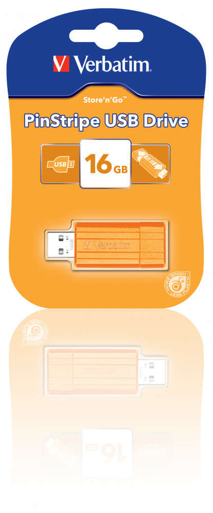 USB-накопитель PinStripe, 16 ГБ* — оранжевый