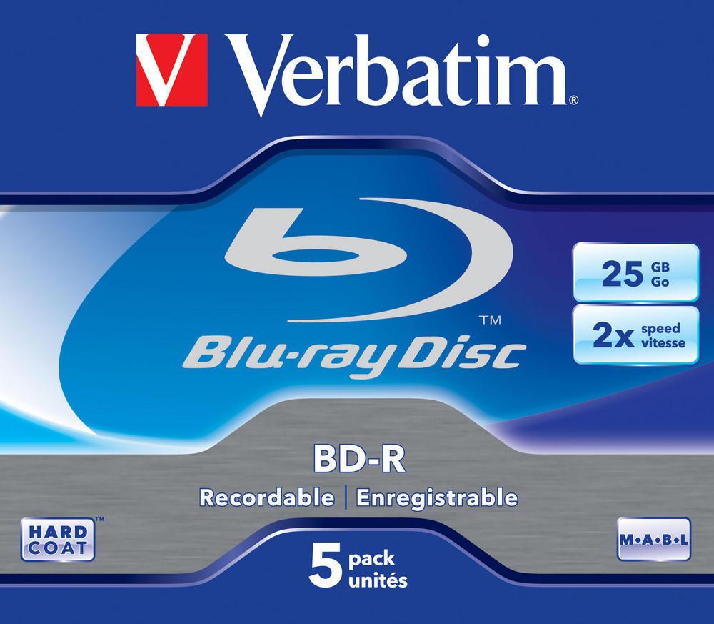 BD-R SL 25GB 1x - 2x 5 Pack Jewel Case