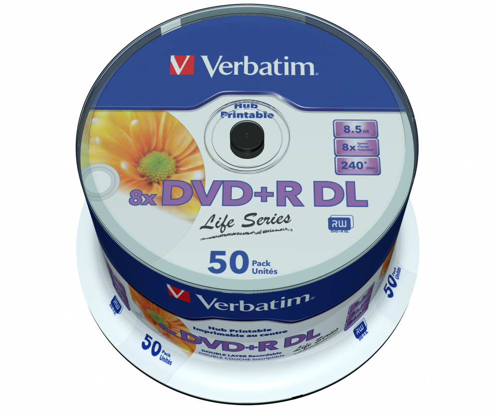 image regarding Ink Jet Printable Dvd titled Invest in DVD+R Double Layer Inkjet Printable 8x Verbatim DVD
