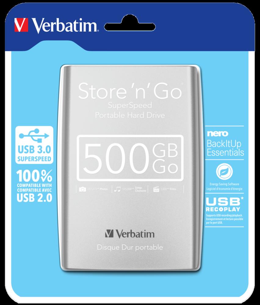 Disco Duro Portátil Store 'n' Go USB 3.0 de 500GB* en color plateado