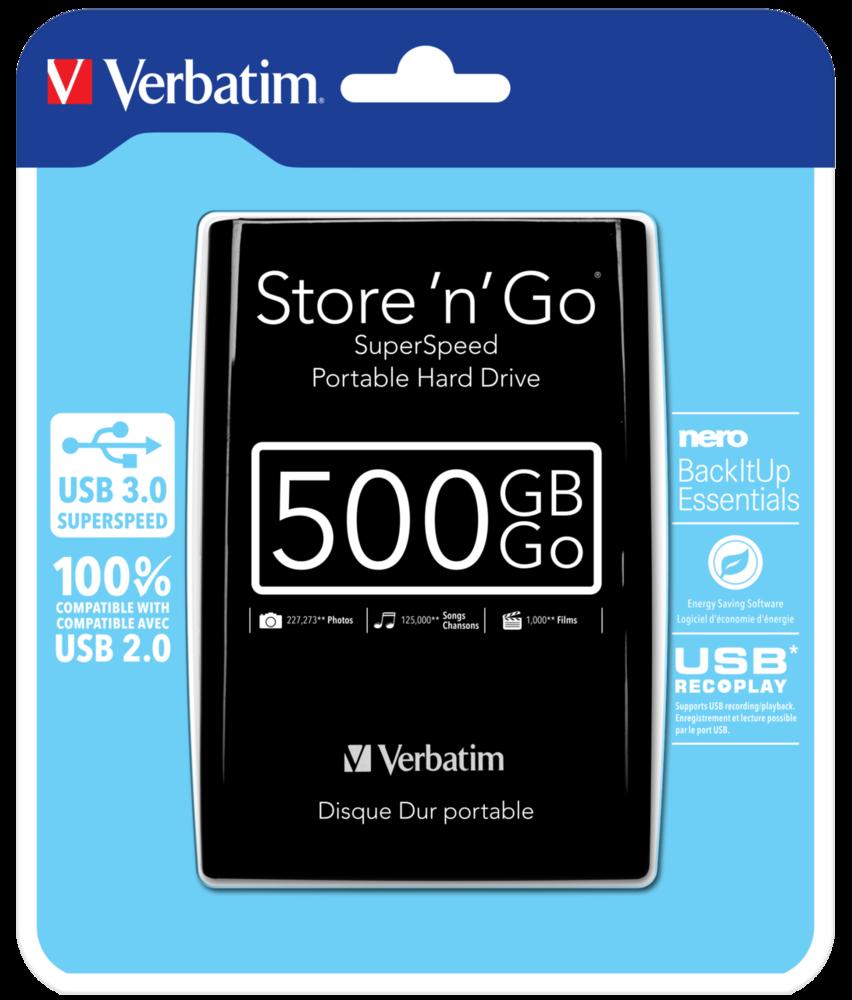 Store 'n' Go USB 3.0 Portable Hard Drive 500GB Black