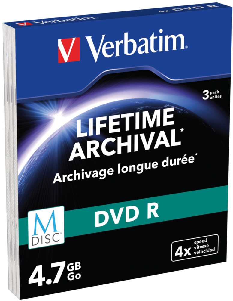 Verbatim MDISC Lifetime Archival DVD R - 3 Pack Slim Case