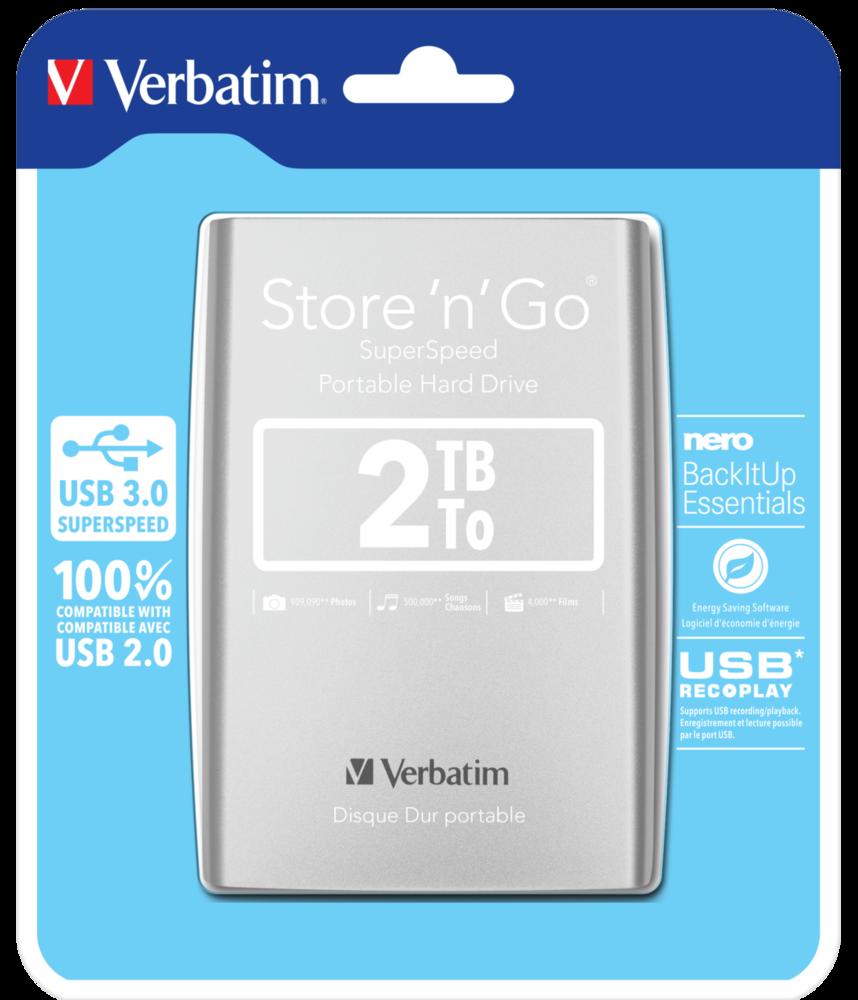 Disco rigido portatile Store 'n' Go USB 3.0 da 2 TB Argento