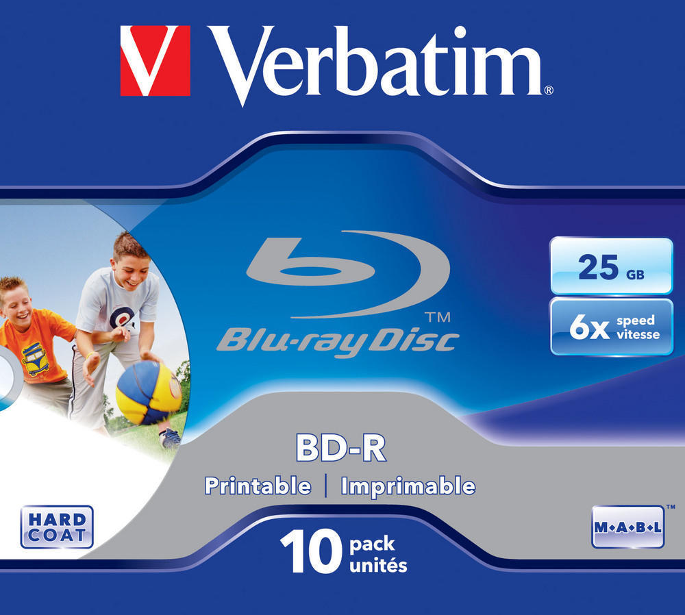 BD-R SL 25GB* 6x Printable 10 Pack Jewel Case