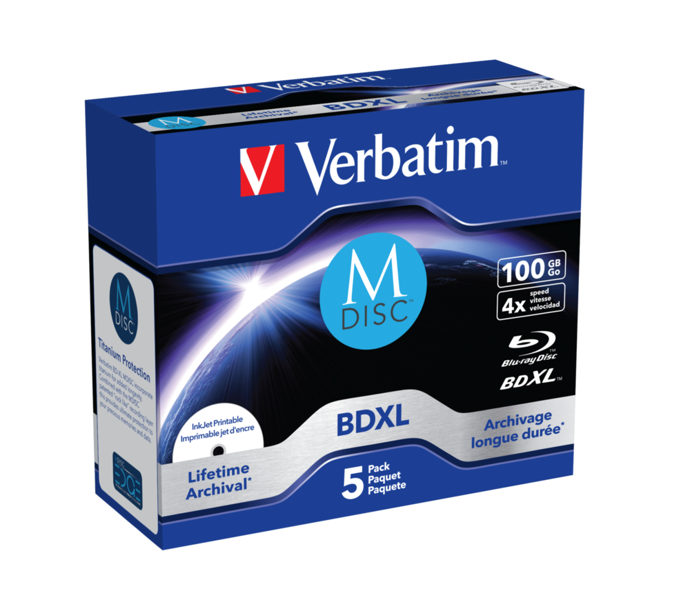 Verbatim MDISC Lifetime archival BDXL 100GB* - 5er-Pack, Jewel Case