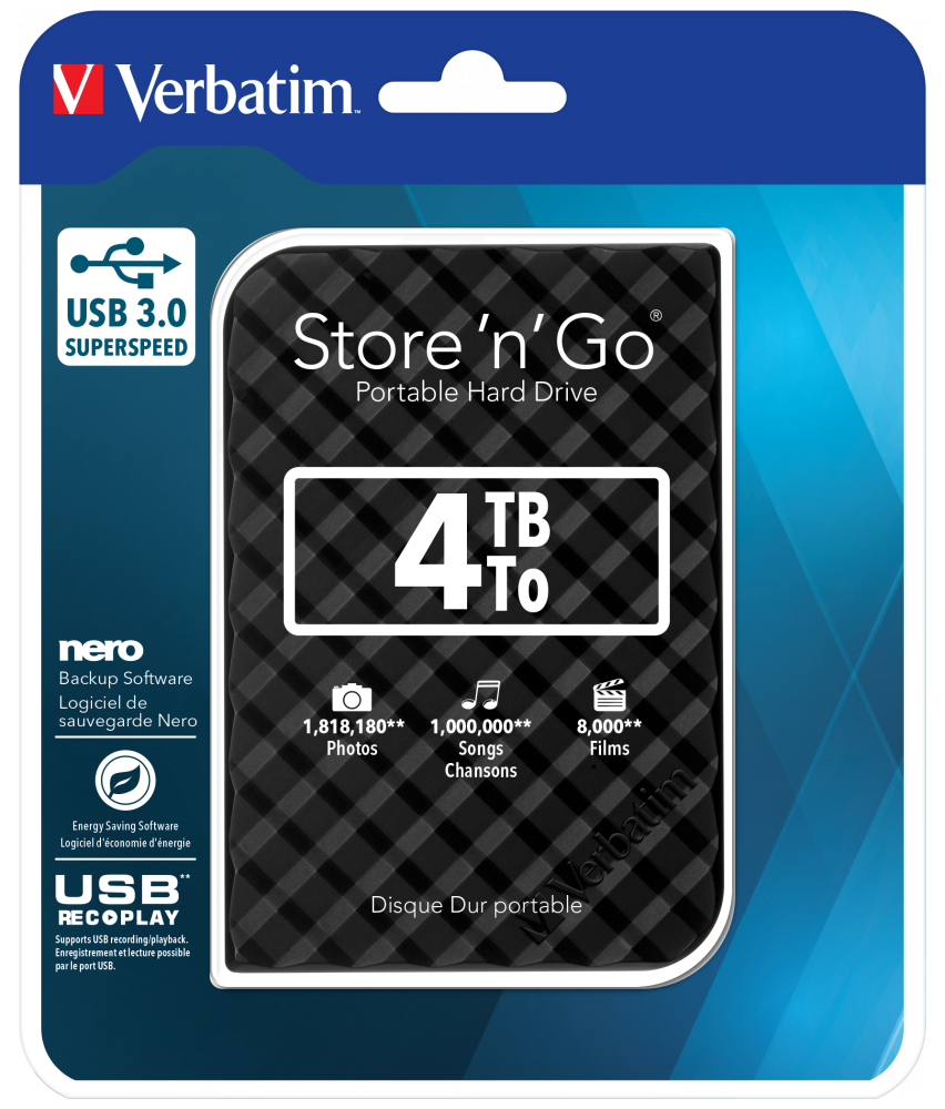 Verbatim Store 'n' Go USB 3.0 Hard Drive 4TB Black