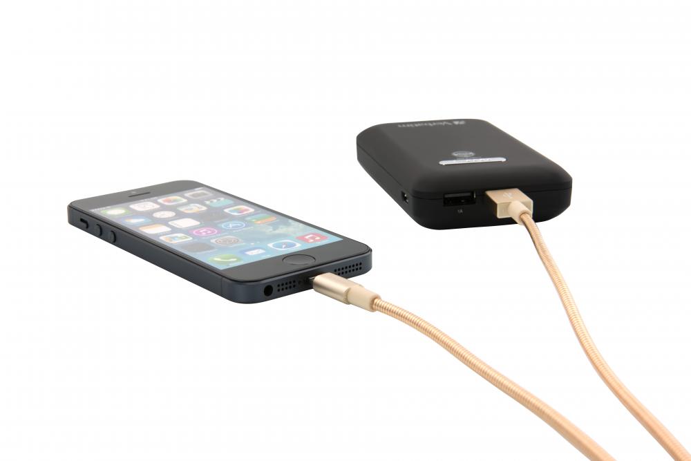 Verbatim lightning-kabel i rostfritt stål för synkronisering och laddning, 100 cm guld