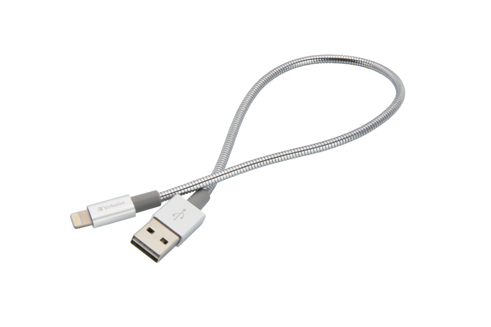 Verbatim, Cavo Lightning di Ricarica e Sincronizzazione in Acciaio Inossidabile 30 cm, colore Argento