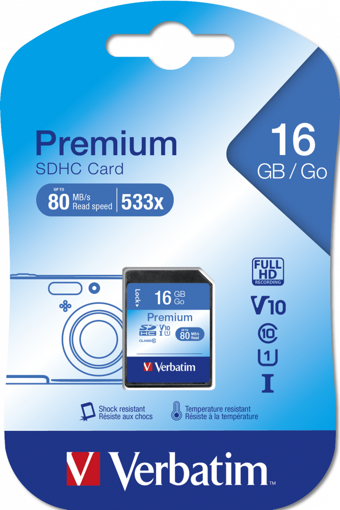 Tarjeta de memoria Verbatim Premium U1 SDHC de 16 GB*