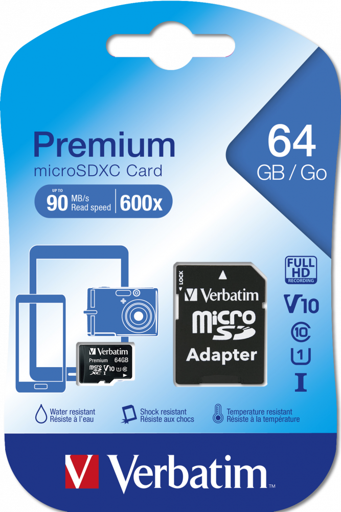 Verbatim Premium U1 MicroSDXC Card 64GB* + adapter