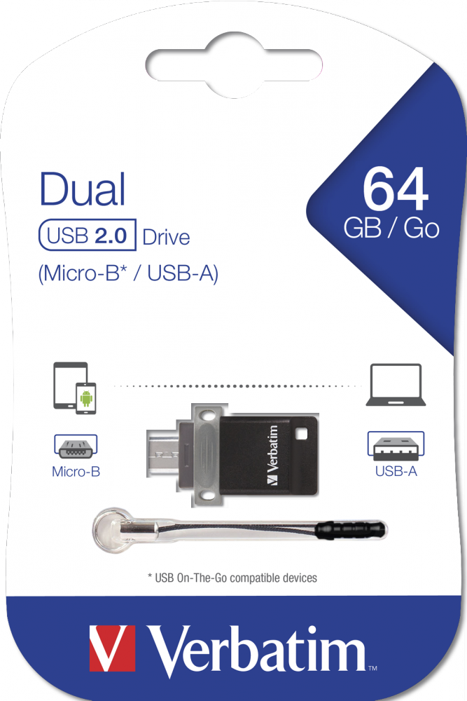 Dubbel USB-station – OTG/USB 2.0 - 64GB*