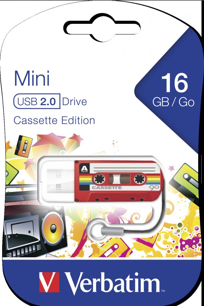 Мини-USB-накопитель Cassete Edition 16ГБ* - красный