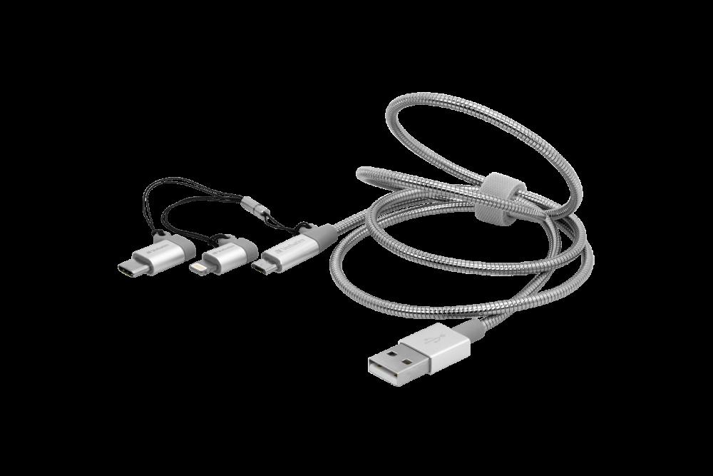 USB-C 3-in-1 / Lightning / Cavo di Ricarica e di Sincronizzazione in Acciaio Inossidabile Micro USB B - 100 cm