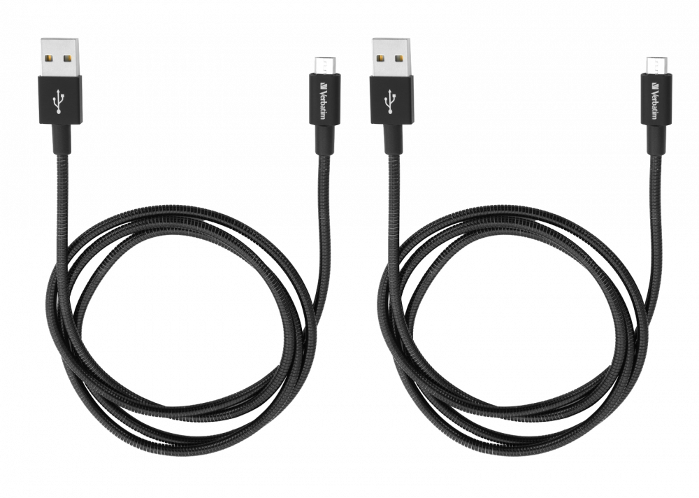 Verbatim Micro USB Sync & Charge Cable 100cm Black 2 Pack