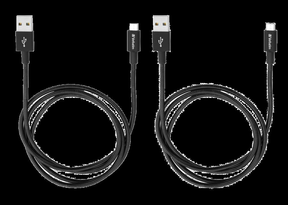 Pakiranje od dva crna mikro USB kabela od nehrðajuæeg èelika za sinkroniziranje i punjenje